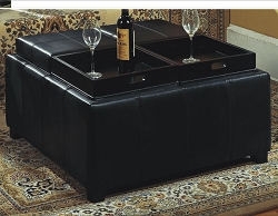 MITTY SQUARE BLACK VINYL OTTOMAN WITH SERVING TRAYS