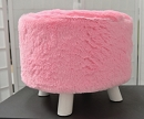 PINK FAUX FUR ROUND OTTOMAN FOOT STOOL