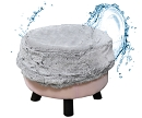 LIGHT GREY FAUX FUR ROUND OTTOMAN FOOT STOOL