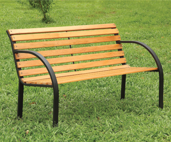 Dumas Natural Oak Finish Outdoor Park Bench
