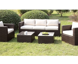 OLINA IVORY 5 PIECES PATIO SOFA CHAIRS SET WITH OTTOMANS