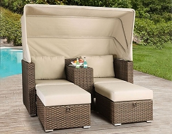 ASHVINI TWIN CABANA LOUNGER SOFA AND OTTOMAN