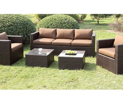 OLINA BROWN 5 PIECES PATIO SOFA CHAIRS SET WITH OTTOMANS