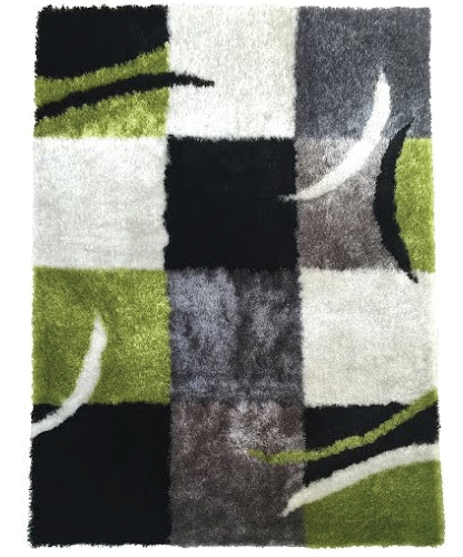 lo la shag green and white area rug