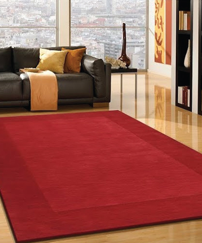 Transitional Hand Tufted Solid Red Area Rug