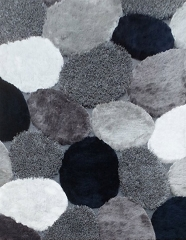VISCOSE SHAGGY DESIGN 25 GRAY NAVY AREA RUG