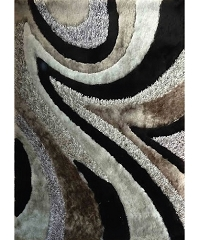 VISCOSE SHAGGY DESIGN 26 GRAY BLACK AREA RUG