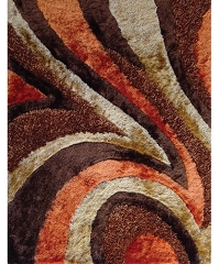 VISCOSE SHAGGY DESIGN 26 BROWN ORANGE AREA RUG