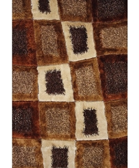 VISCOSE SHAGGY DESIGN 45 BROWN AREA RUG