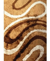 VISCOSE SHAGGY MARBLE BROWN AREA RUG