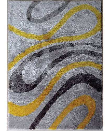 Chevron Marble Rug: VISCOSE SHAGGY MARBLE GRAY YELLOW AREA RUG
