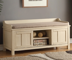ROSIO CREAM AND LIGHT BROWN FABRIC STORAGE BENCH