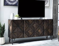 CHASINFIELD DARK BROWN 72 INCHES LARGE TV CONSOLE SERVER