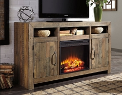 SOMMERFORD BROWN 62 INCHES TV STAND WITH FIREPLACE OPTION