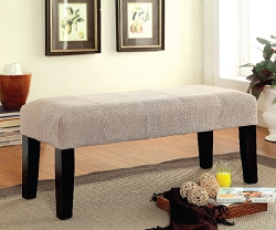 BURY BEIGE CHENILLE FABRIC BENCH