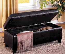 LUTON STORAGE ESPRESSO LEATHERETTE BENCH