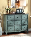 OROFINO 3 DRAWERS VINTAGE STYLE LIGHT TEAL ACCENT CHEST