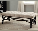 LINEN TUFTED BENCH WITH ESPRESSO WOOD TRIM BASE