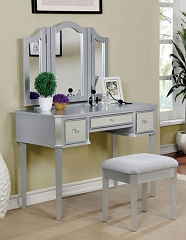 CLARISSE SILVER MIRROR VANITY WITH STOOL