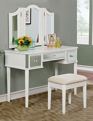 CLARISSE WHITE MIRROR VANITY WITH STOOL