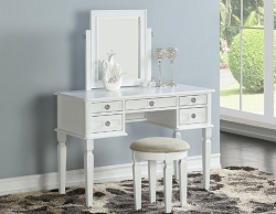 GLACIE WHITE MIRROR VANITY WITH STOOL