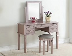 GLACIE ROSE GOLD MIRROR VANITY WITH STOOL