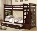 ALLENTOWN TWIN TWIN ESPRESSO BUNK BED WITH STORAGE AND TRUNDLE