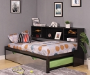 RENELL SILVER METAL TWIN BED WITH TRUNDLE