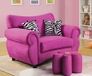 PINK KING CHAIR WITH PILLOWS AND OTTOMAN