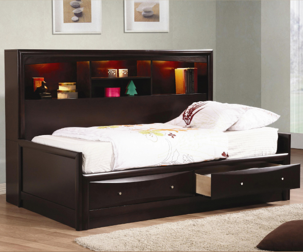 Phoenix daybed with bookcase and storage Daybeds with storage