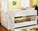 MERRITT WHITE TWIN TWIN BUNK BED WITH STEP LADDER AND STORAGE