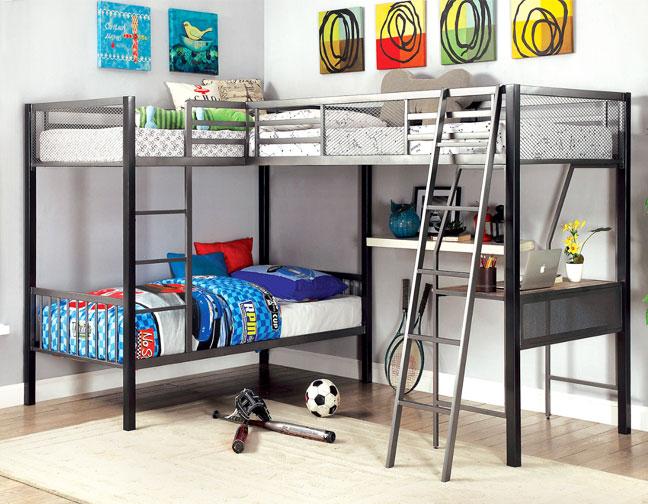 BALLARAT L SHAPE TRIPLE METAL TWIN LOFT BED