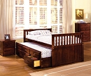 MONTANA SOLID WOOD CHERRY CAPTAIN BED WITH TRUNDLE