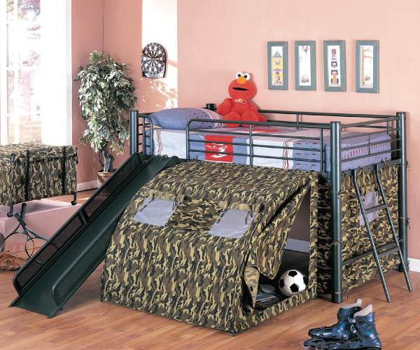 Camouflage Loft Metal Bed With Decorate Tent