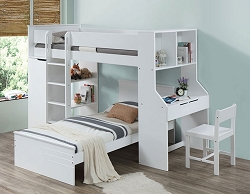 RAGNA WHITE TWIN LOFT BED WITH DESK