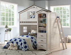 TREE HOUSE WEATHERED WHITE AND WASHED GRAY LOFT BED WITH BOOK CASE