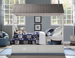 TREE HOUSE WEATHERED WHITE AND WASHED GRAY TWIN BED