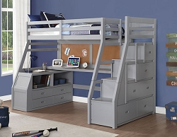 JASON GRAY LOFT BED WITH STORAGE LADDER AND DESK