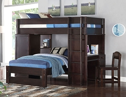 LARS WENGE ESPRESSO TWIN LOFT BED WITH DESK