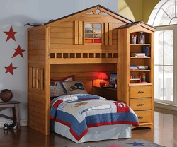 TREE HOUSE RUSTIC OAK LOFT BED WITH BOOK CASE