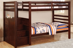 BRANYN TWIN TWIN BUNK BED WITH STORAGE STEP STAIR