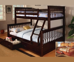 LOWE ESPRESSO TWIN FULL BUNK BED WITH STORAGE DRAWERS