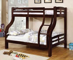 SOLPINE TWIN FULL BUNK BED IN ESPRESSO FINISH