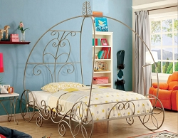 ENCHANT CHAMPAGNE PRINCESS CARRIAGE METAL BED