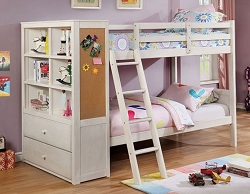 ATHENA WHITE TWIN OVER TWIN WHITE BUNK BED WITH SIDE STORAGE