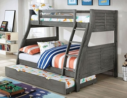HOOPLE GRAY TWIN OVER FULL REVERSIBLE LADDER BUNK BED
