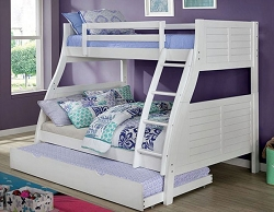 HOOPLE WHITE TWIN OVER FULL REVERSIBLE LADDER BUNK BED