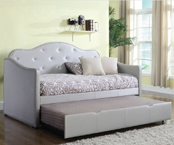 PEARLSCENT GRAY LEATHERETTE DAYBED WITH TRUNDLE