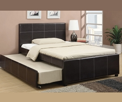 TAMMY YOUTH FAUX LEATHER BED WITH TRUNDLE