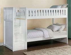 GALEN SOLID WOOD TWIN TWIN BUNK BED WITH REVERSIBLE STORAGE STEP STAIR